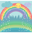 Colorful background with a rainbow rain sun vector