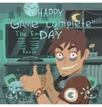 Happy game complete day greeting card vector