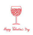 Wine glass with hearts happy valentines day card vector