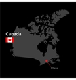 Detailed map of canada and capital city ottawa vector