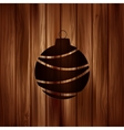 Christmas ball icon wooden background vector