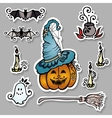 Set of ornate halloween decorations vector