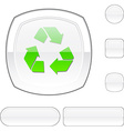 Recycle white button vector