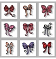 Set of ornamental holiday bows with long shadow vector