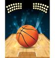Basketball on hardwood court vector