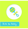 Baby boy rattle shower card vector