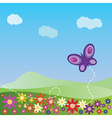 Summer landscape with butterfly vector