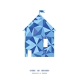 Blue triangle texture house silhouette pattern vector