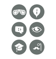 Mono travel and education social icons set vector