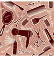 Hairdressing equipment seamless pattern background vector