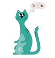Childrens cat turquoise vector