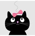 Cute cartoon black cat card vector
