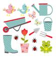 Cute gardening set vector