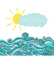 Sea with sun and cloud maritime background with pl vector