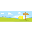 Landscape with directional signs - the way to vector