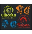 Set - unicorns and horses equestrian labels badges vector