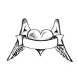 Heart with the wings isolated on the white vector