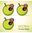 Apple with a worm vector