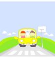 Cute cartoon couple traveling by car vector