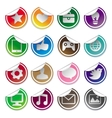 Stickers and social media icons vector