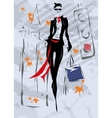 The fashionable woman goes down the street fall vector