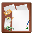 Computer equipment on a blank page and envelope vector