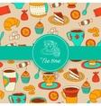 Concept of tea time sticker stuff vector