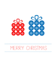 Blue red gift boxes made from buttons christmas vector