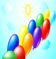 Balloons sun and clouds vector