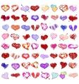 Happy valentines hearts set vector