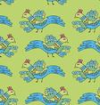 Primitive drawing birds cartoon seamless pattern vector