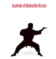 Silhouette of the man of engaged karate on a white vector