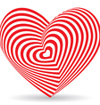 Red heart on a white background optical of 3d vector