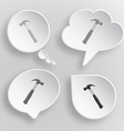 Hammer white flat buttons on gray background vector