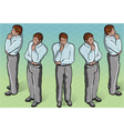 Isometric thoughtful standing man vector