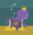 Octopus with chest with gold vector