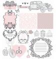 Wedding vintage invitation collection vector