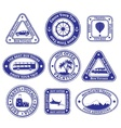 Set of scratched stamps on travel and tourism vector