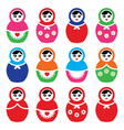 Russian doll retro babushka colorful icons vector