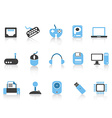 Computer devices icons set blue series vector