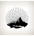 Silhouette sunburst and the mountains vector