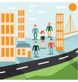 Four guys and girl in the city flat design vector
