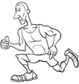 Runner sportsman cartoon coloring page vector