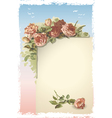 Vintage roses ornament on old page vector