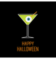 Martini glass with green cocktail and eyeball vector