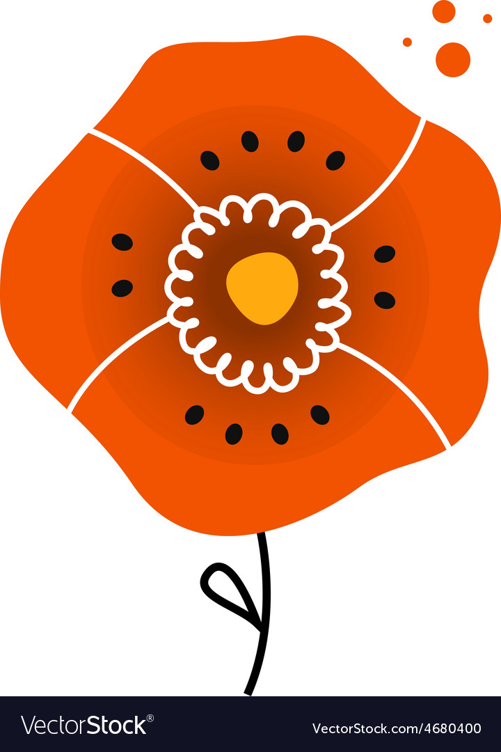 Beautiful red poppy in folk style vector | Price: 1 Credit (USD $1)
