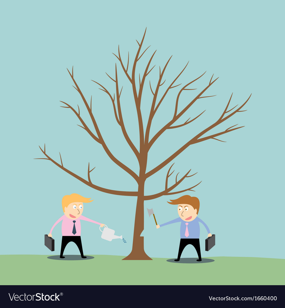 Businessman cutting tree of competitor vector | Price: 1 Credit (USD $1)