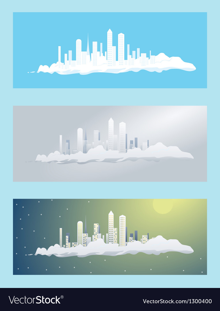 Cloud city vector | Price: 1 Credit (USD $1)