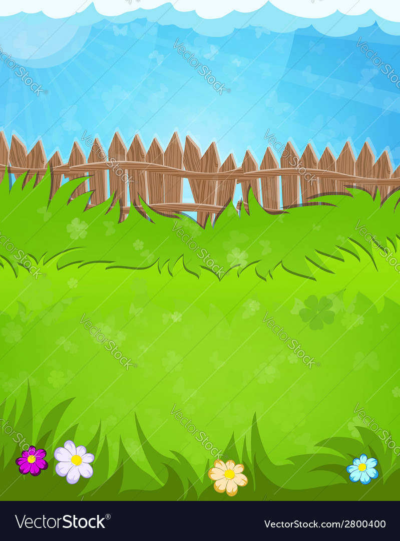 Fence on green meadow vector | Price: 1 Credit (USD $1)