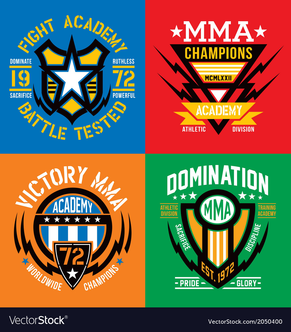 Fight academy mma emblems vector | Price: 1 Credit (USD $1)